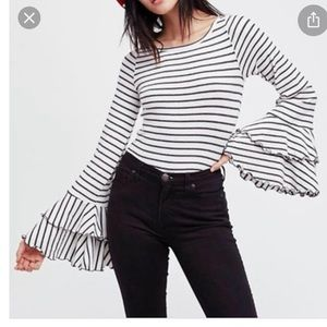 Free People White & Grey Striped Bell Sleeve Top